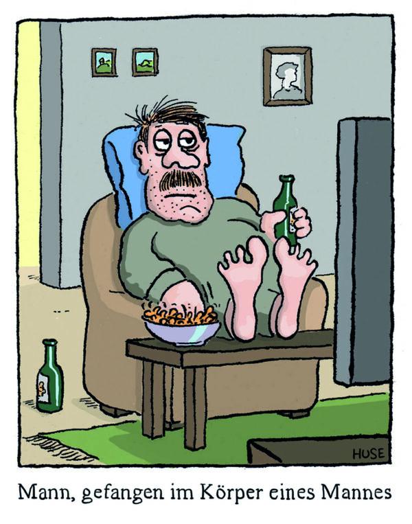 Cartoon: Gefangener Mann